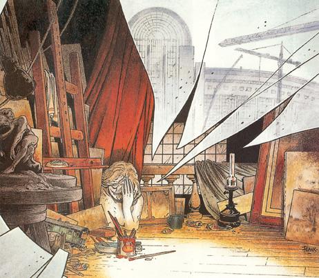 """Frank Pé, couverture du livre """"Le caprice des dieux, vie et mort des ateliers d'artistes du Quartier Léopold"""""""