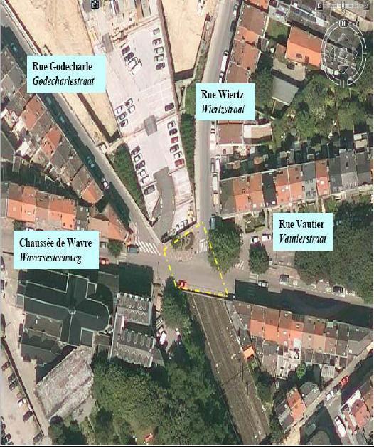 Vue aérienne du pont Wavre en 2006 (photo Infrabel)