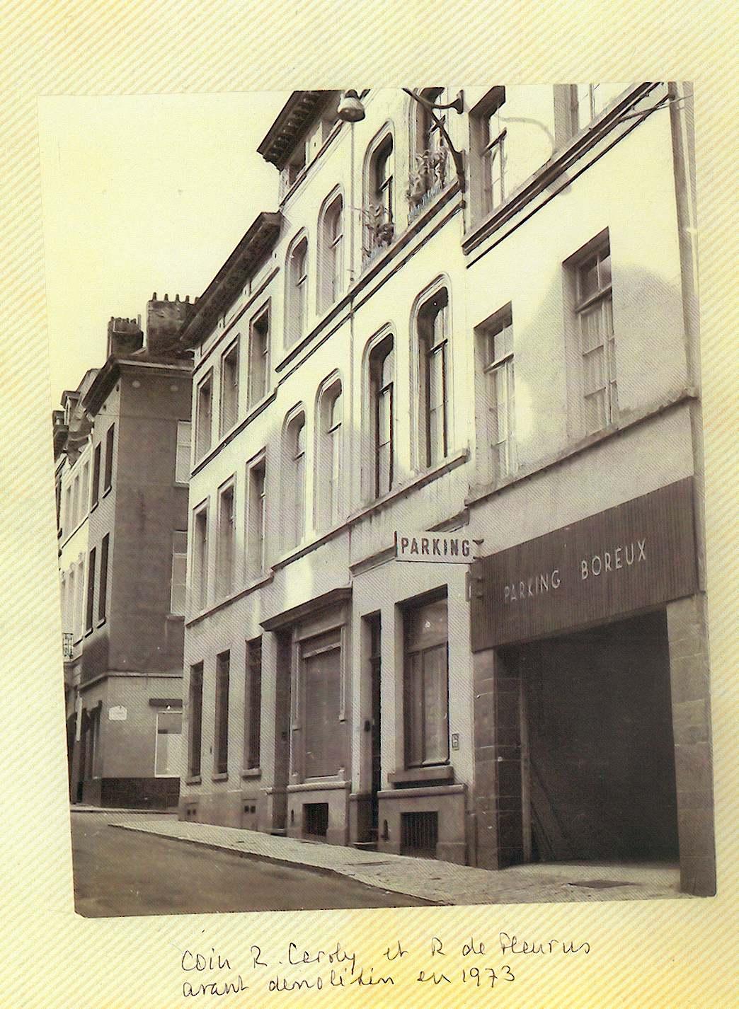 Coin rue Caroly et rue de Fleurus avant démolition en 1973. Photo Marjolaine.