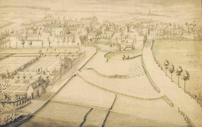 Vers 1750, la chaussée de Wavre et le village d'Etterbeek, l'actuel parc Léopold est à la gauche.