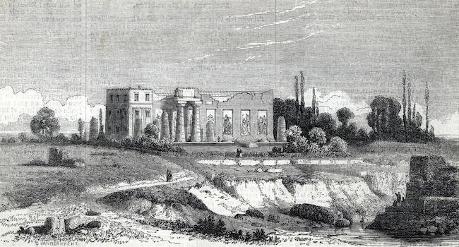 Vers 1850, l'atelier d'Antoine Wiertz à partit de la rue Wiertz, le parc Léopold est à l'arrière.