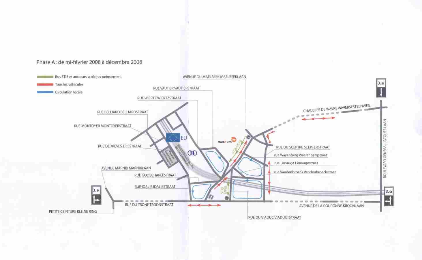 Le plan des déviations de la première phase des travaux du pont Wavre