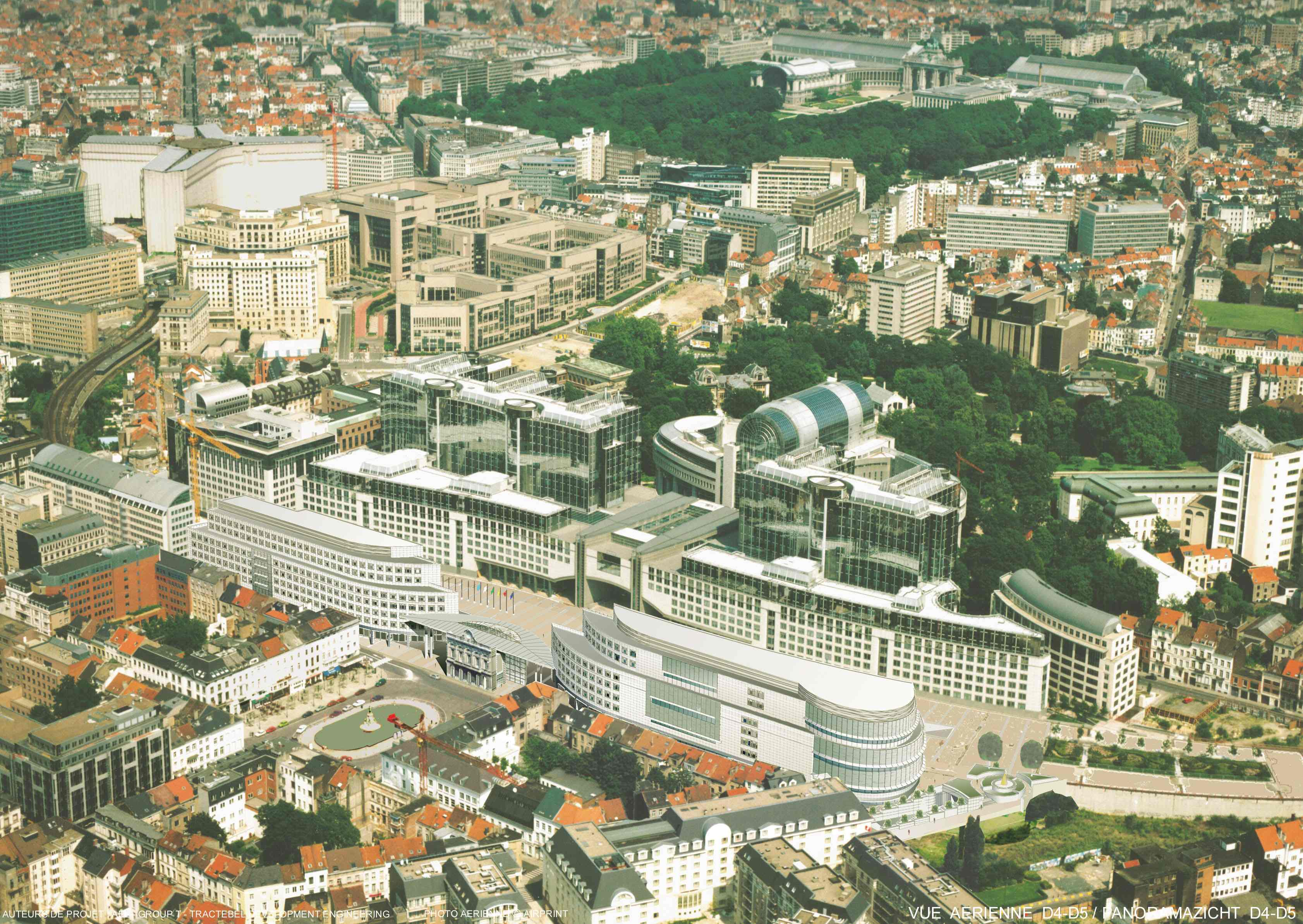 Vue aérienne du Parlement Européen au milieu du quartier européen